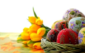 Wallpaper macro, holiday, eggs, focus, Easter, tulips, ornament, painting, yellow, Easter, painted
