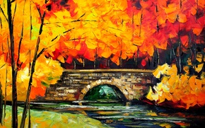 Picture picture, autumn, bridge, trees, river, landscape, leaves
