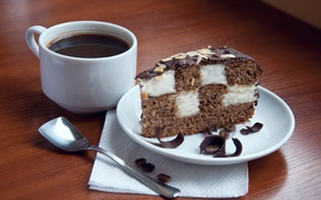 Picture coffee, chocolate, cake, coffee beans