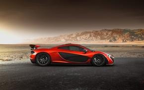 Picture McLaren, Orange, Hybrid, Side, Death, Sand, Supercar, Valley, Hypercar, Exotic, Volcano