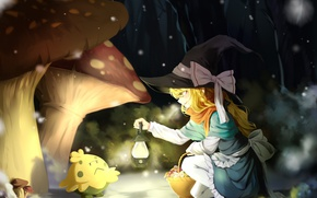 Picture forest, snow, night, mushrooms, meeting, mushroom, scarf, lantern, bow, basket, pokemon, Touhou, witch hat, Touhou …