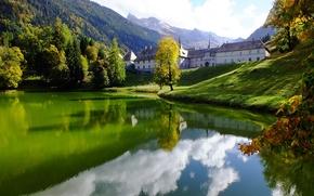 Picture lake, France, Alps, the monastery, abode, Abbey, La Chartreuse du Reposoir, Le Carmel