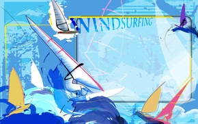 Picture sea, abstraction, the wind, stay, collage, Wallpaper, wave, vector, sail, Board, Windsurfing, windsurfing