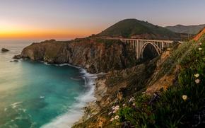 Picture bridge, the ocean, coast, CA, Pacific Ocean, California, The Pacific ocean, Bixby Bridge, Big Sur, …