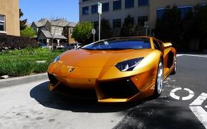 Picture yellow, street, building, lamborghini, yellow, aventador, lp700-4, Lamborghini, aventador