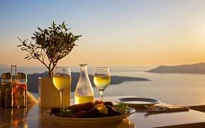 Picture sea, landscape, sunset, table, food, glasses, plates, serving