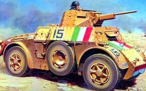 Picture figure, art, Italian, armored car, WW2, Autoblinda 41, Autoblinda 41, turret with 20 mm gun, …