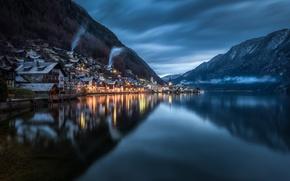 Wallpaper clouds, Hallstatt, reflection, mountains, Austria, Upper Austria, home, lighting, lake, the evening, twilight, Austria, Hallstatt, ...