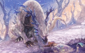 Picture forest, white, snow, lake, dragon, elf, tail, horns