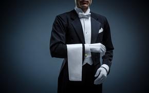 Picture man, elegant, butler, uniform