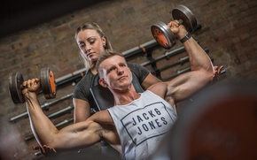 Wallpaper woman, man, workout, personal trainer, fitness, strength