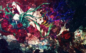 Picture girl, abstraction, style, anime, art, cyborg, vocaloid, gumi, decoration, czc