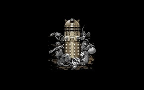 Picture robots, black background, Doctor Who, Doctor Who, Dalek, Far