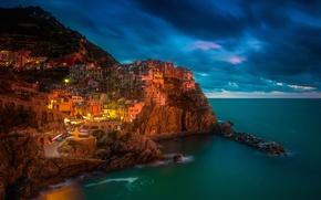 Picture sea, night, lights, rocks, home, Italy, Manarola