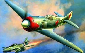 Picture the plane, figure, fighter, Lavochkin, Zhirnov, La-7