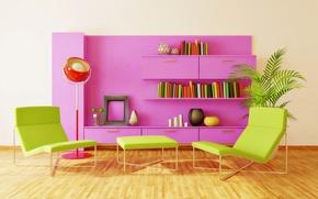 Picture design, creative, books, interior, chair, pink, wardrobe