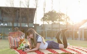 Wallpaper summer, girl, stay, lies