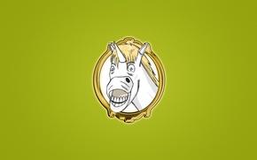 Picture smile, horse, portrait, minimalism, white, Unicorn, unicorn, funny face, bright green background