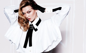 Wallpaper model, blouse, photoshoot, photographer, Karlie Kloss, in white, brunette, makeup, hairstyle, Karlie Kloss, gloves, Russell ...