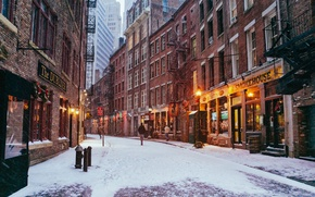 Picture USA, United States, New York, Manhattan, NYC, New York City, winter, snow, street, people, America, …