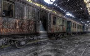 Picture train, station, cars, scrap