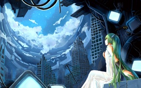 Picture the sky, girl, the city, Vokaloid