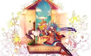 Picture girl, abstraction, anime, art, vocaloid, hatsune miku, kagamine rin, chiho, buchiko