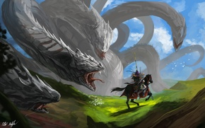 Picture weapons, monster, art, rider, battle, Hydra, giant