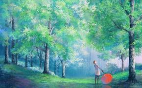 Picture girl, trees, Park, rain, umbrella, art, coat