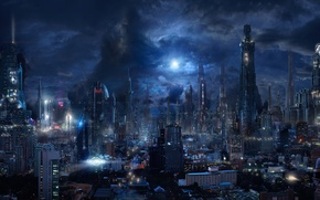 Picture the sky, clouds, night, the city, future, fiction, skyscrapers, megapolis