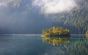 Picture autumn, forest, lake, reflection, island, mountain, slope