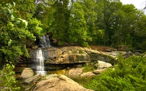 Picture water, trees, Park, stones, waterfall, stream