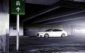 Picture Audi, white, wheels, side, vossen