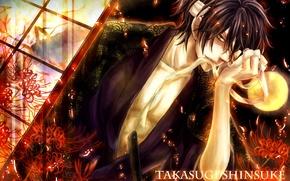 Picture flowers, samurai, sparks, male, bandage, Gintama, Takasugi Shinsuke, yellow moon