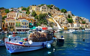Picture sea, mountains, nature, home, boats, Greece, cargo, Greece