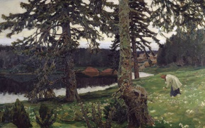 Picture forest, oil, Lake, Canvas, white flowers, Apollinary VASNETSOV, (1856-1933), 1902
