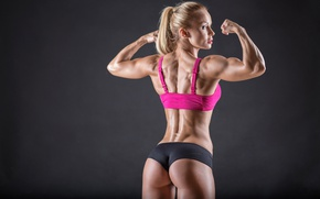 Picture muscles, blonde, pose, back, female, workout, fitness, arms, toned body, body building