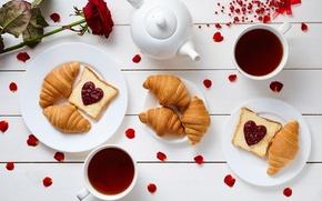 Wallpaper coffee, Breakfast, hearts, love, rose, heart, cup, romantic, coffee, growing, breakfast, croissant