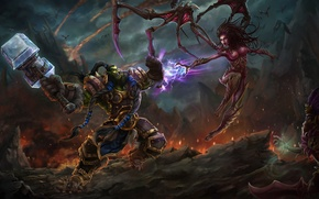 Picture the game, battle, art, location, Heroes of the Storm, Thrall vs Kerrigan