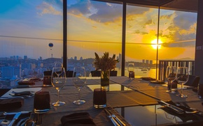 Picture sunset, the city, table, the evening, window, restaurant, serving