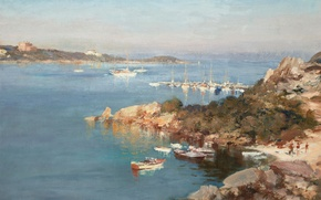 Wallpaper picture, Yachts on Lucia Beach in Porto Cervo, landscape, Edward Seago