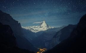 Picture stars, mountains, Matterhorn