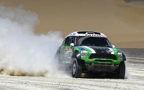 Picture Auto, Dust, Sport, Green, Mini Cooper, Rally, Dakar, Rally, MINI, The front, Mini Cooper, X-raid