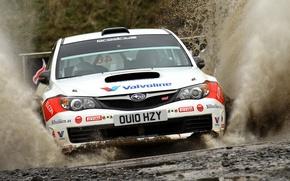 Picture Water, Auto, White, Subaru, Impreza, Sport, Machine, Race, The hood, Squirt, Lights, wrc, Rally, The …