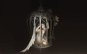 Picture girl, flowers, wings, cell, Angel, chain, art, bodo1983