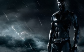 Wallpaper lightning, night, DIABOLIK, ninja, black