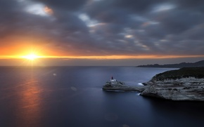 Picture sea, sunset, lighthouse, Corsica