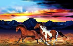 Picture the sky, mountains, figure, plain, horse, art, pair, glow, jump