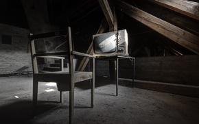 Picture TV, chair, attic