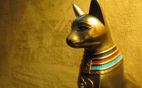 Picture cat, Egypt, Bastet, the cult, Golden statue